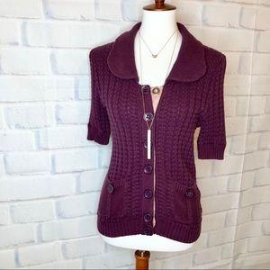 Marc Jacobs Plum Pan-Collar Cable Knit Cardigan